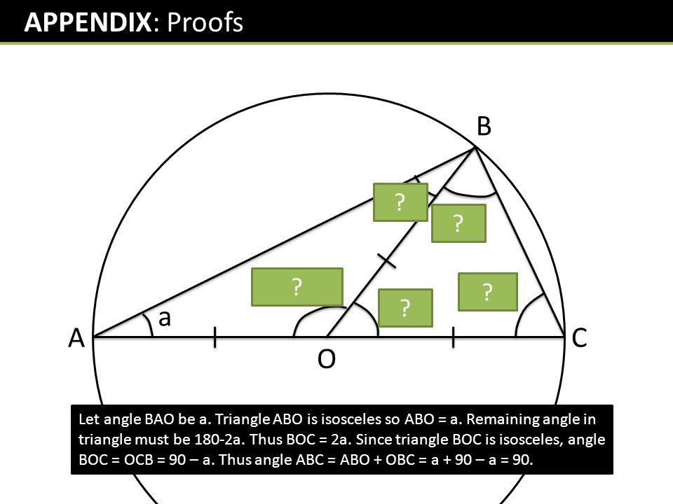 APPENDIX: Proofs B a 90-a 180-2a 90-a 2a a A C O
