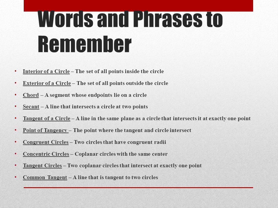Words and Phrases to Remember
