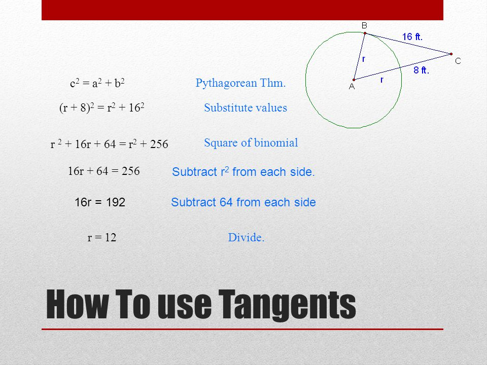 How To use Tangents c2 = a2 + b2 Pythagorean Thm. (r + 8)2 = r2 + 162