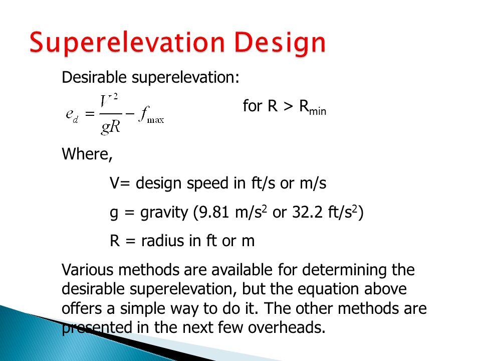 Superelevation Design