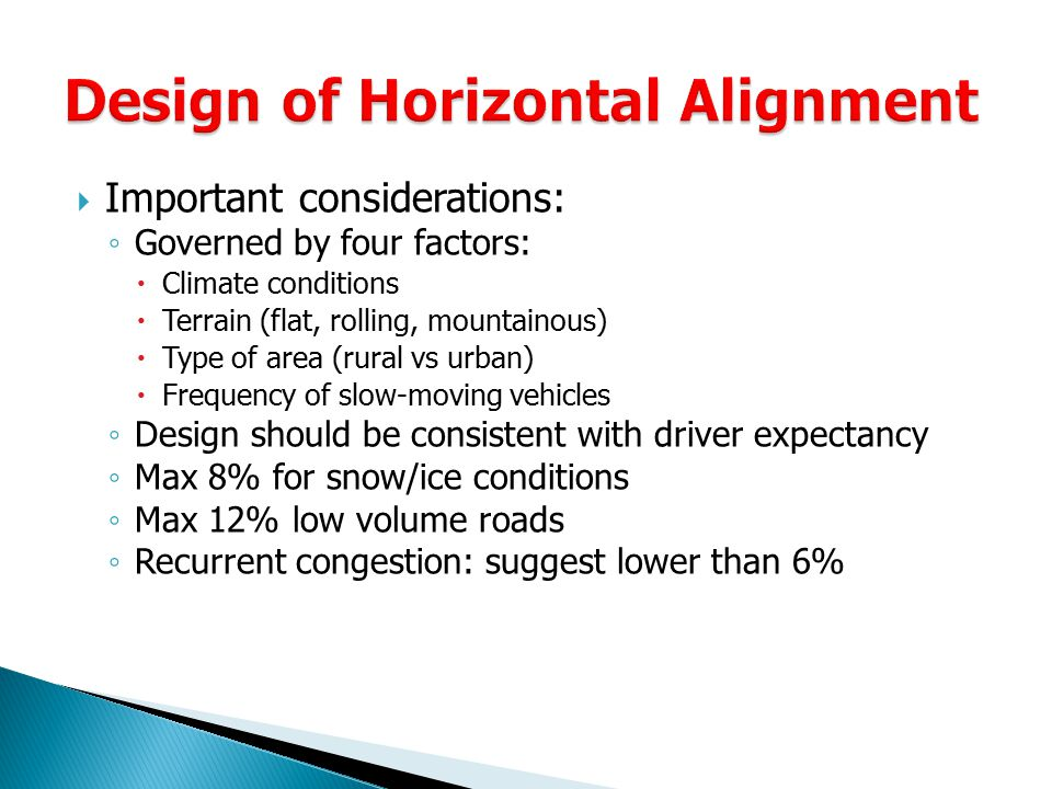 Design of Horizontal Alignment