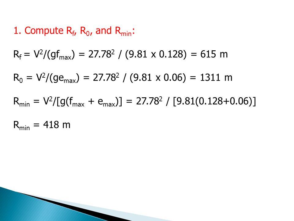 1. Compute Rf, R0, and Rmin: Rf = V2/(gfmax) = 27.782 / (9.81 x 0.128) = 615 m. R0 = V2/(gemax) = 27.782 / (9.81 x 0.06) = 1311 m.