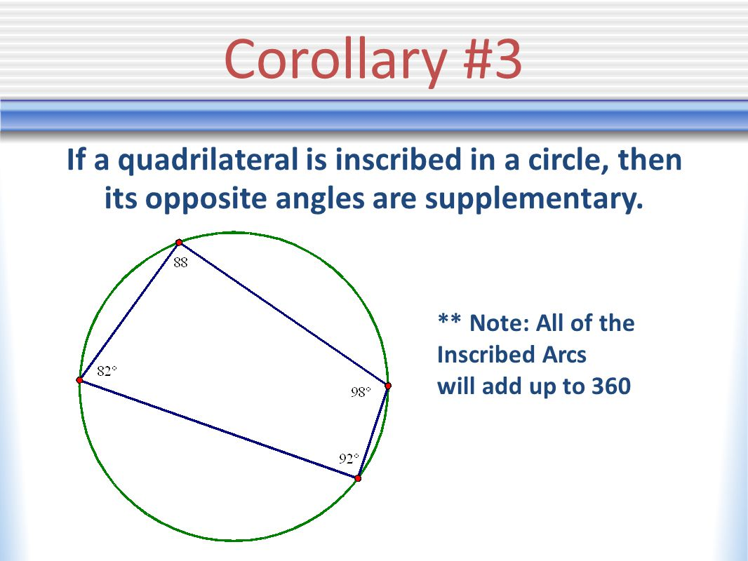 Corollary #3 If a quadrilateral is inscribed in a circle, then its opposite angles are supplementary.