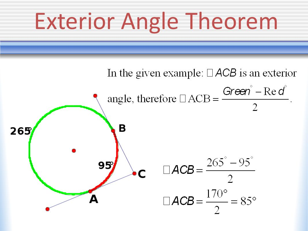 Angles in a circle keystone geometry ppt video online for Exterior angle theorem