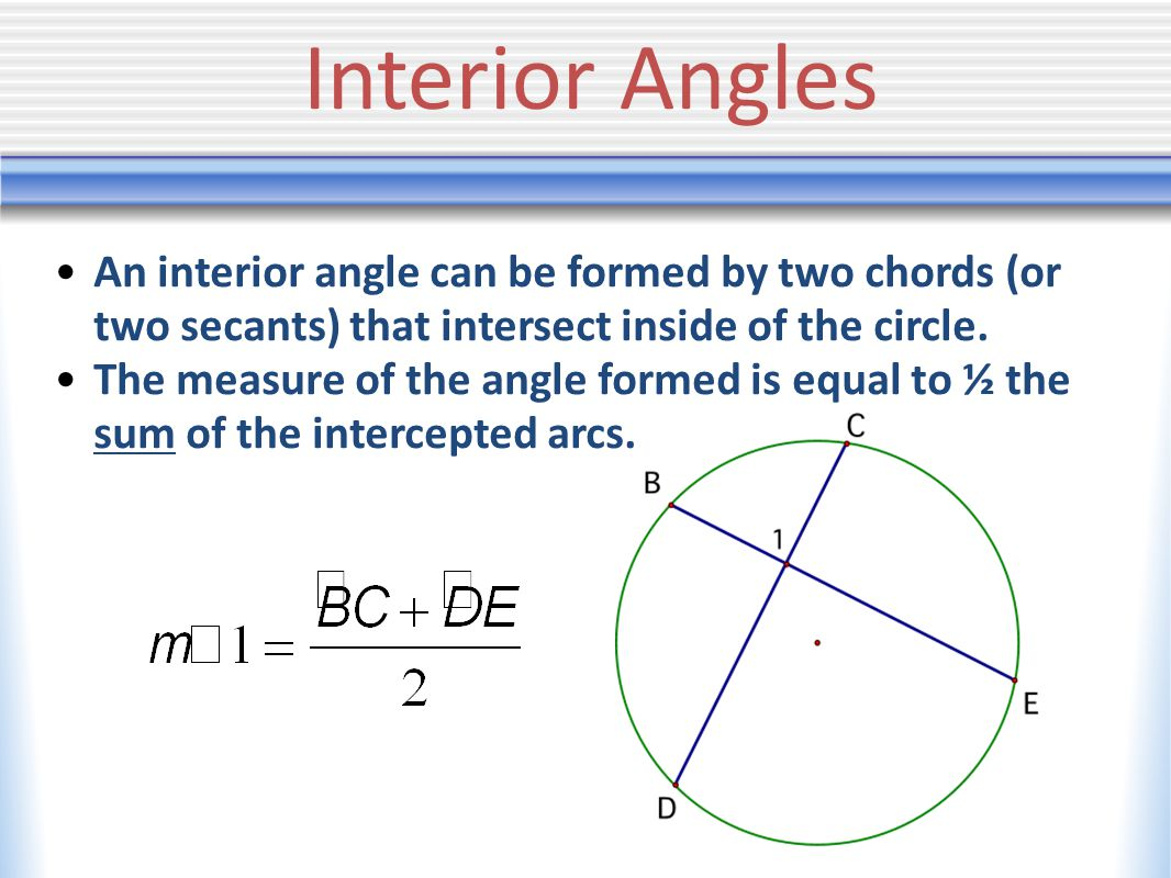Interior Angles An interior angle can be formed by two chords (or two secants) that intersect inside of the circle.