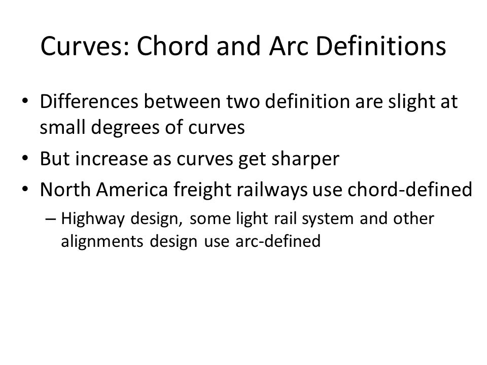 Curves: Chord and Arc Definitions