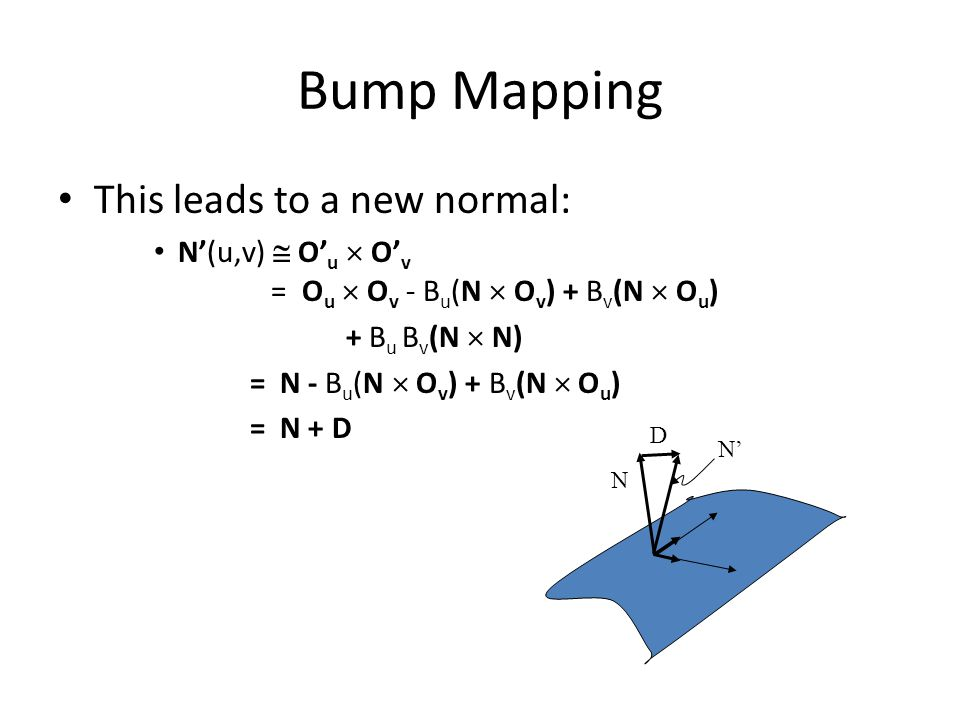 Bump Mapping This leads to a new normal: