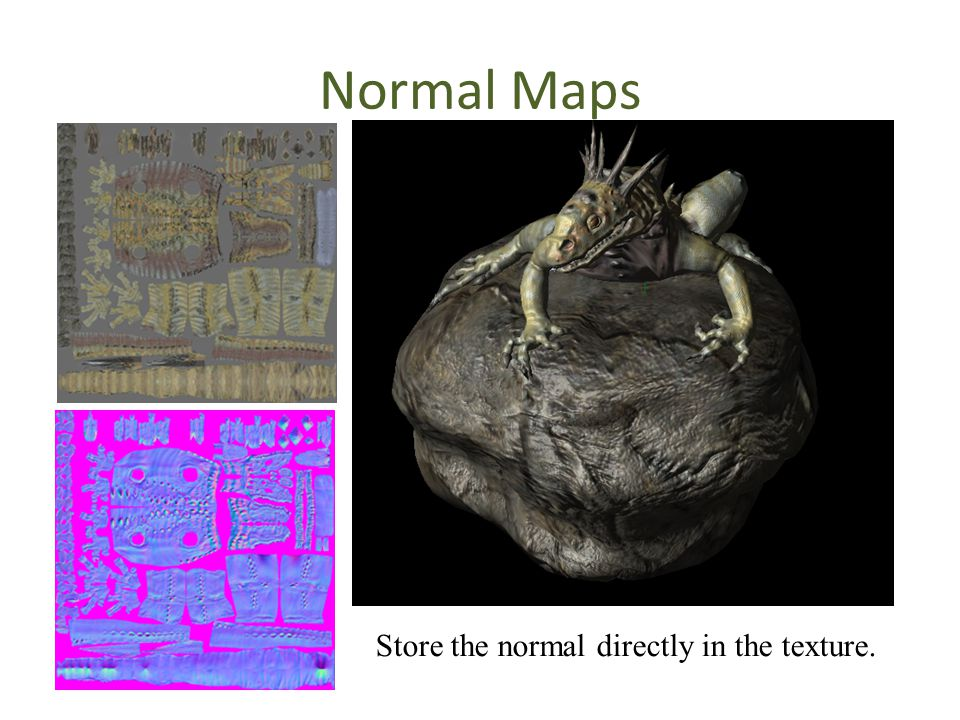 Normal Maps Store the normal directly in the texture.