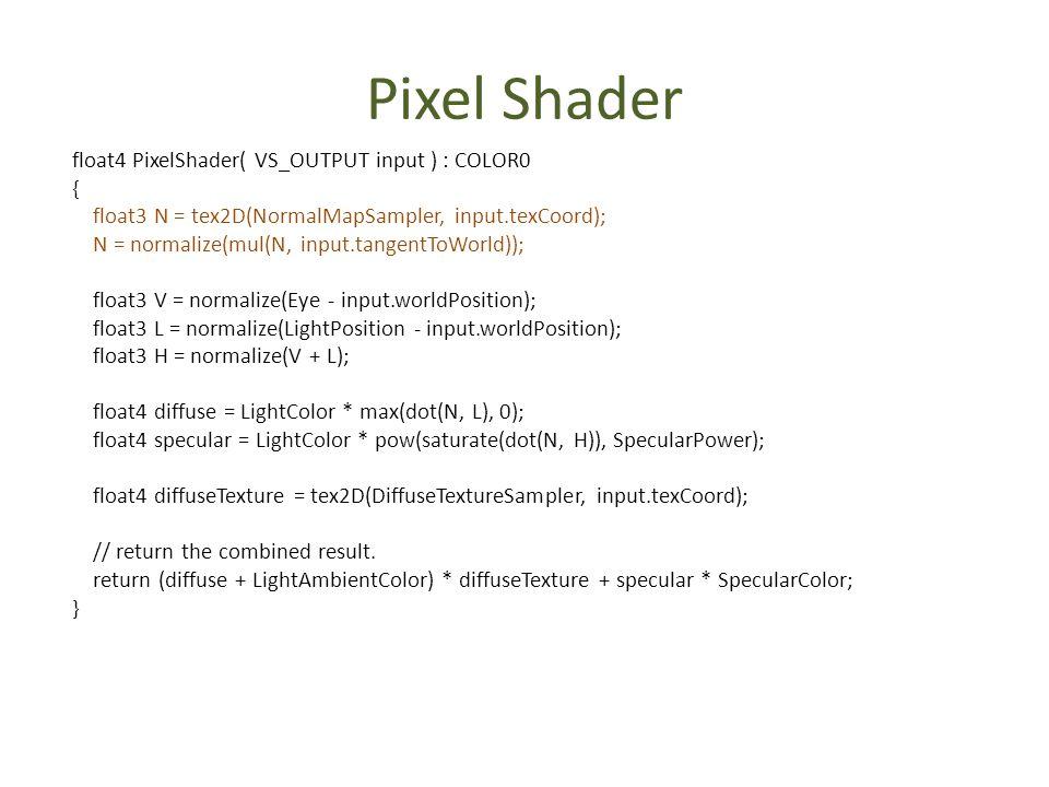 Pixel Shader float4 PixelShader( VS_OUTPUT input ) : COLOR0 {