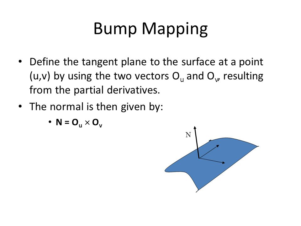 Bump Mapping Define the tangent plane to the surface at a point (u,v) by using the two vectors Ou and Ov, resulting from the partial derivatives.