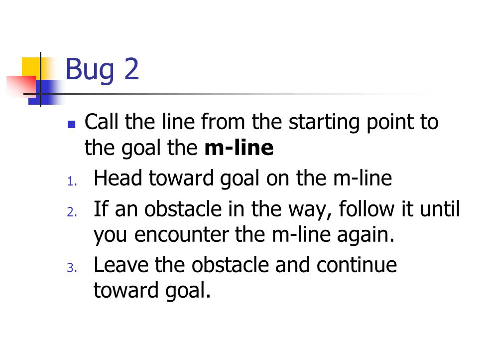 Bug 2 Call the line from the starting point to the goal the m-line