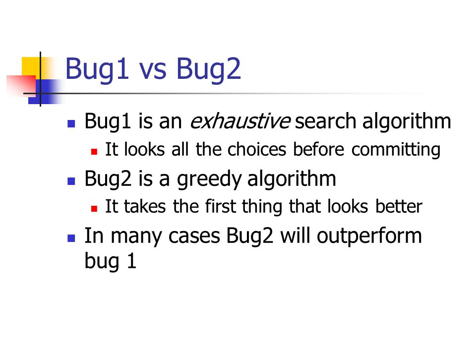 Bug1 vs Bug2 Bug1 is an exhaustive search algorithm