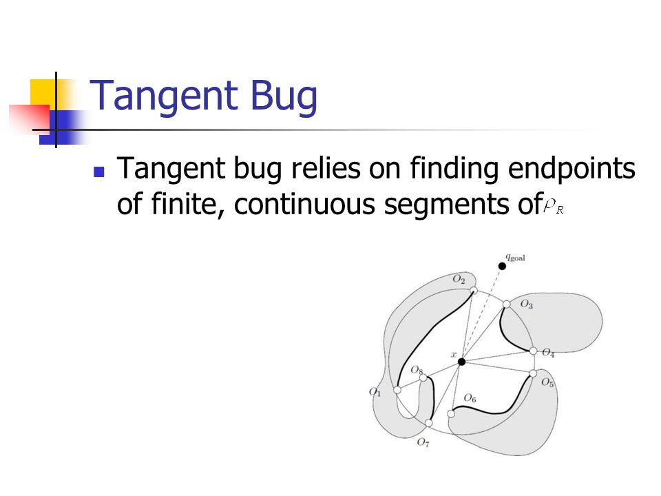 Tangent Bug Tangent bug relies on finding endpoints of finite, continuous segments of