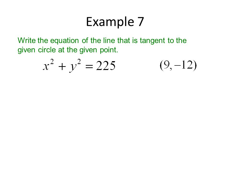 Example 7 Write the equation of the line that is tangent to the given circle at the given point.