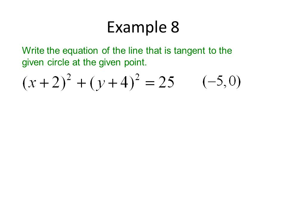 Example 8 Write the equation of the line that is tangent to the given circle at the given point.