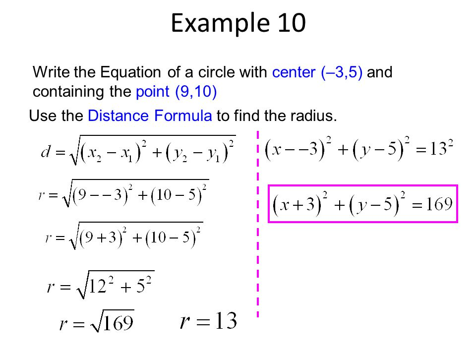 Example 10 Write the Equation of a circle with center (–3,5) and containing the point (9,10) Use the Distance Formula to find the radius.