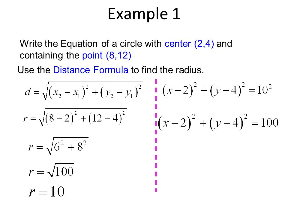 Example 1 Write the Equation of a circle with center (2,4) and containing the point (8,12) Use the Distance Formula to find the radius.