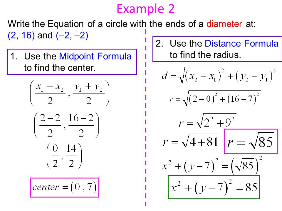 Example 2 Write the Equation of a circle with the ends of a diameter at: (2, 16) and (–2, –2)