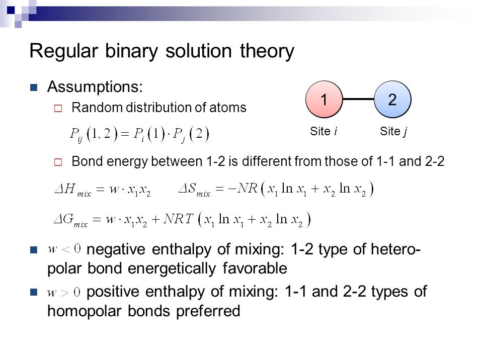 Regular binary solution theory