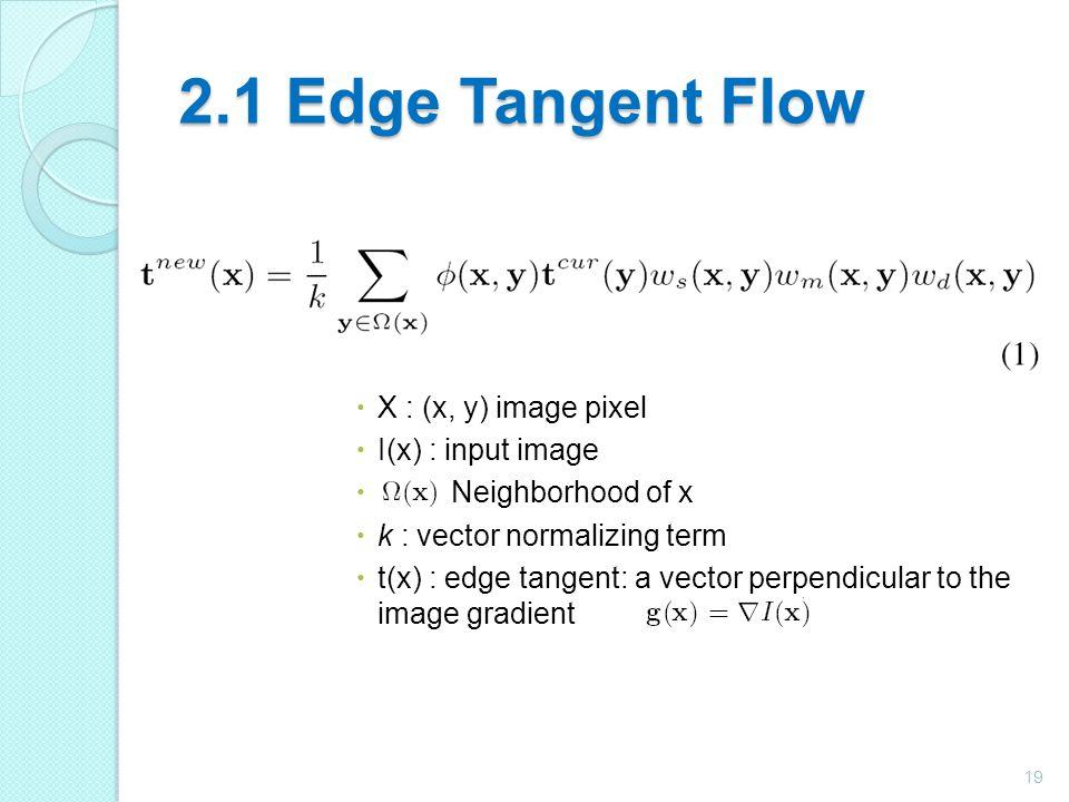 2.1 Edge Tangent Flow X : (x, y) image pixel I(x) : input image