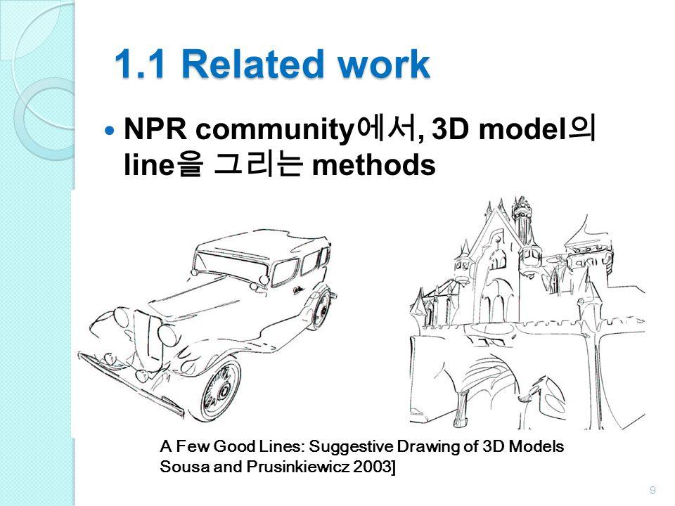 1.1 Related work NPR community에서, 3D model의 line을 그리는 methods