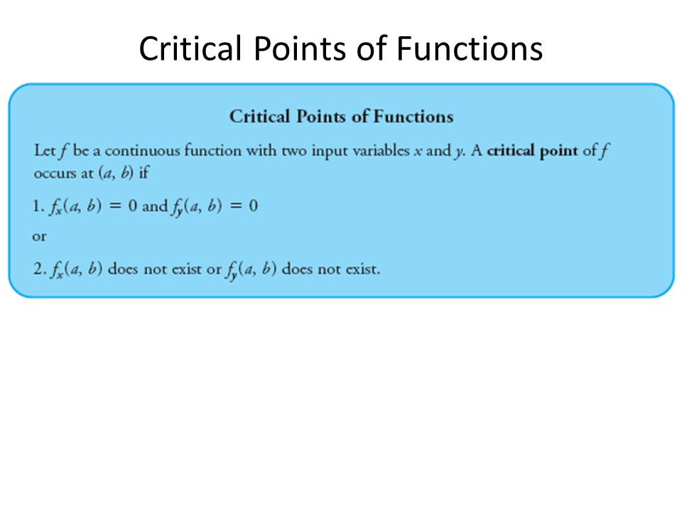 Critical Points of Functions