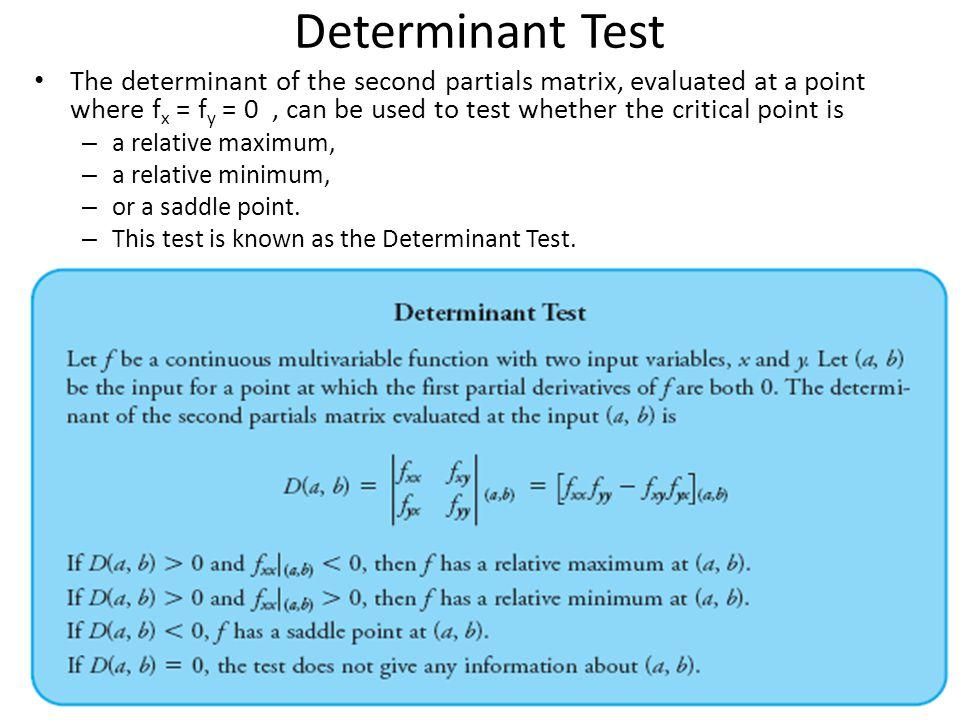 Determinant Test