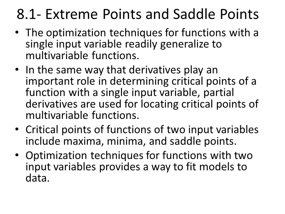 8.1- Extreme Points and Saddle Points