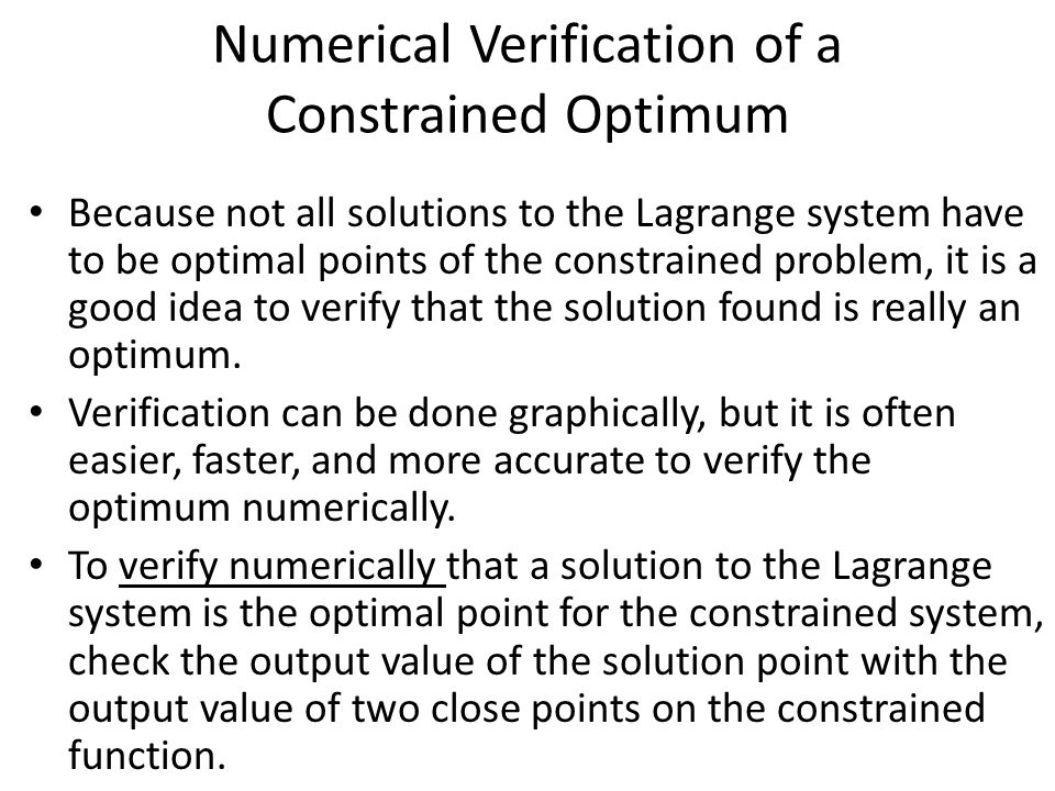 Numerical Verification of a Constrained Optimum