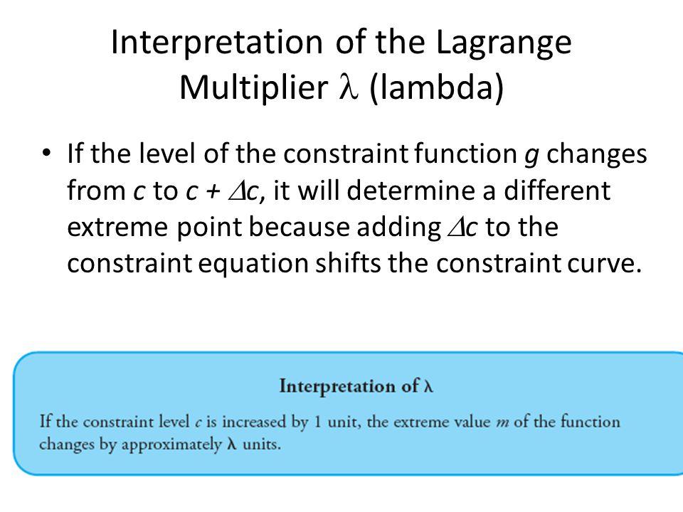 Interpretation of the Lagrange Multiplier  (lambda)