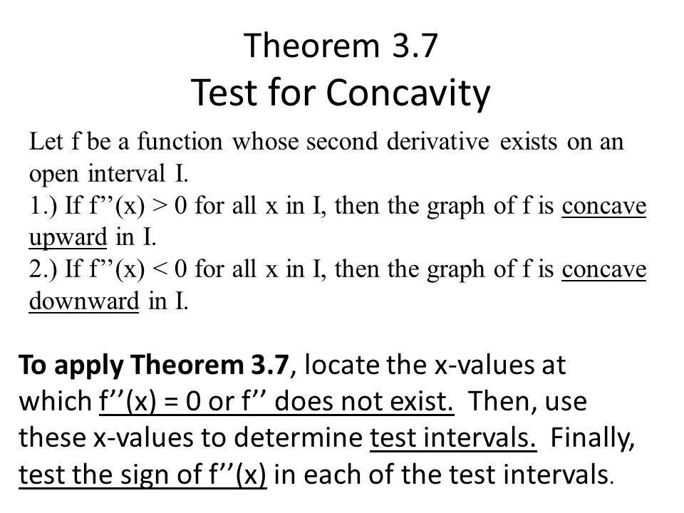 Test for Concavity Theorem 3.7