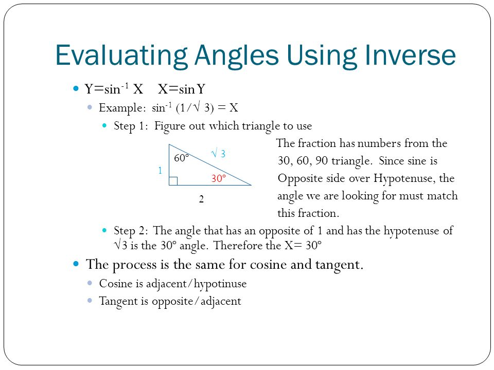 Evaluating Angles Using Inverse