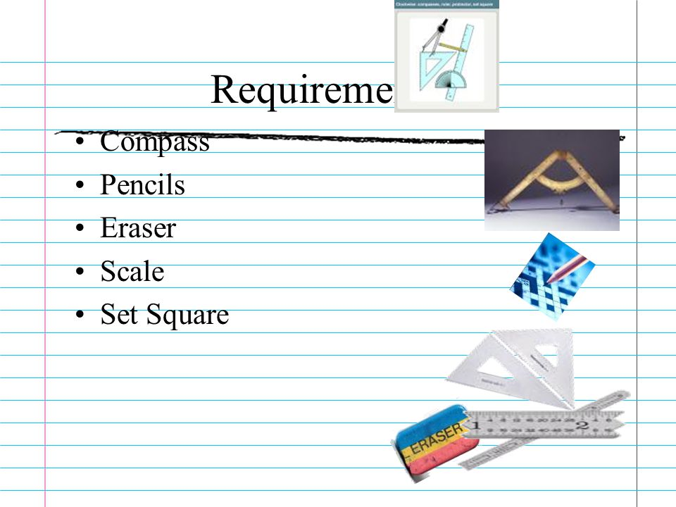 Requirements:- Compass Pencils Eraser Scale Set Square