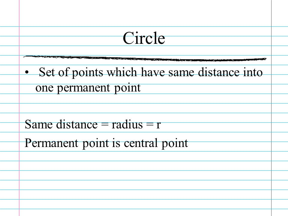 Circle Set of points which have same distance into one permanent point