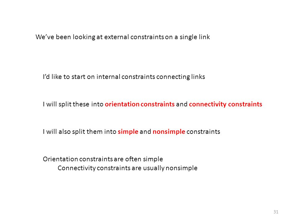 We've been looking at external constraints on a single link