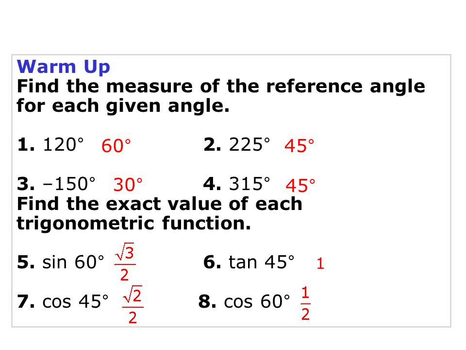 Find the measure of the reference angle for each given angle.
