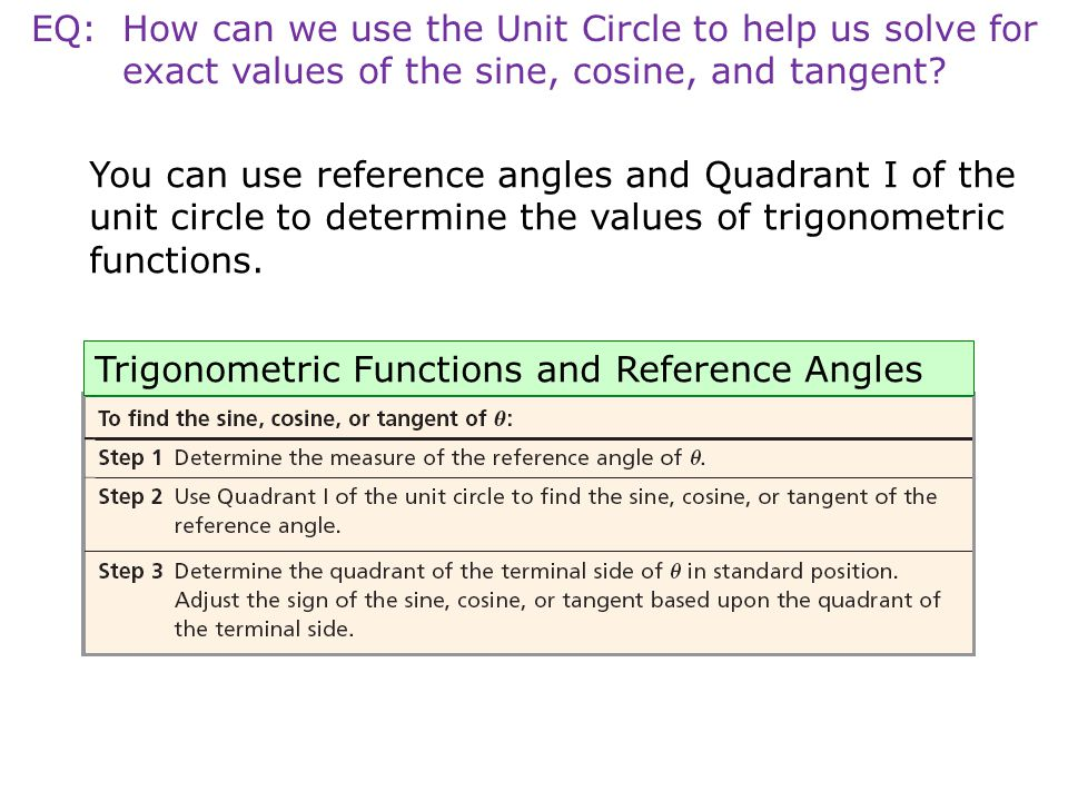 EQ: How can we use the Unit Circle to help us solve for exact values of the sine, cosine, and tangent