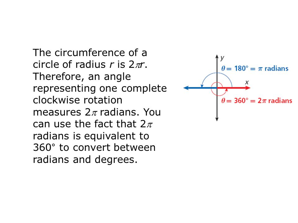 The circumference of a circle of radius r is 2r