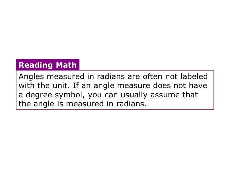 Angles measured in radians are often not labeled with the unit