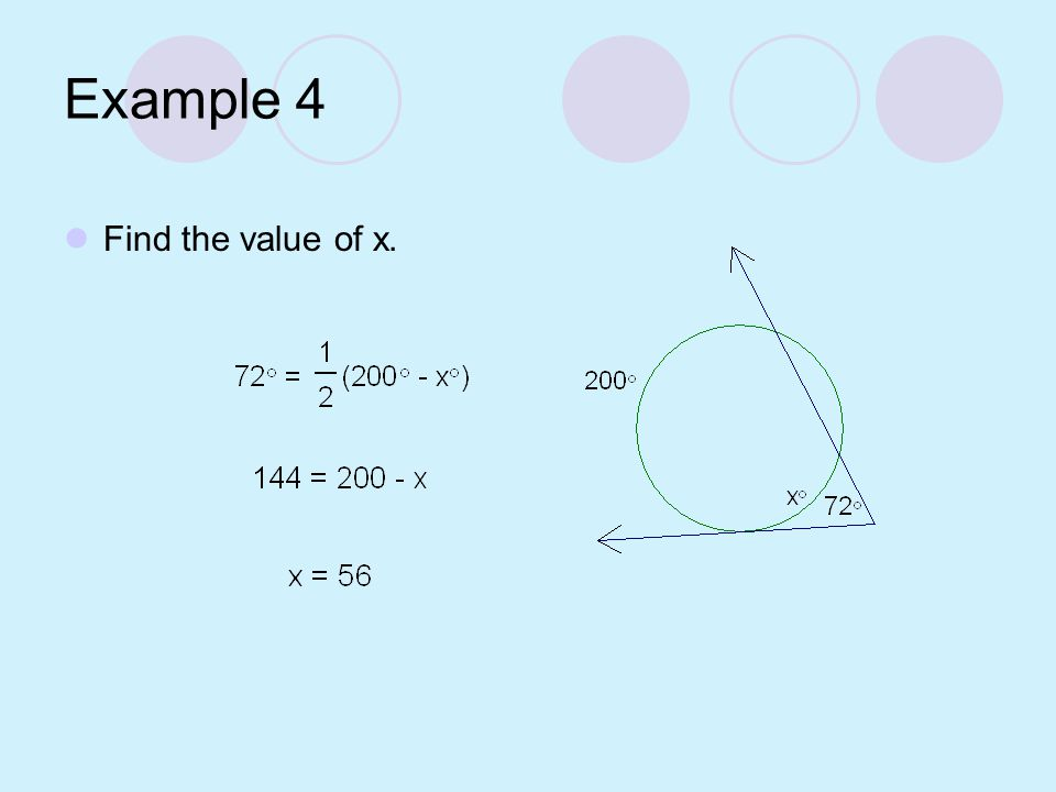 Example 4 Find the value of x.
