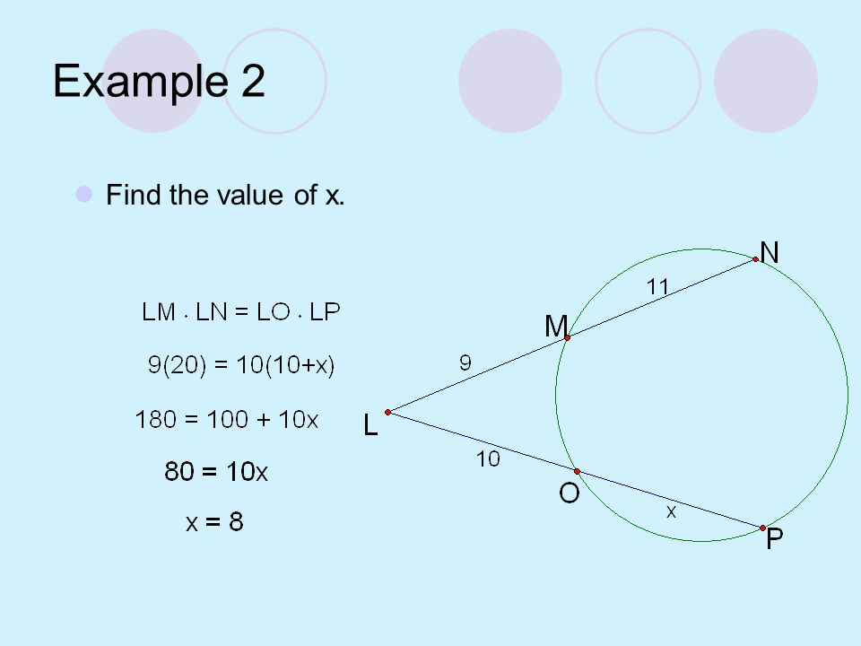 Example 2 Find the value of x.