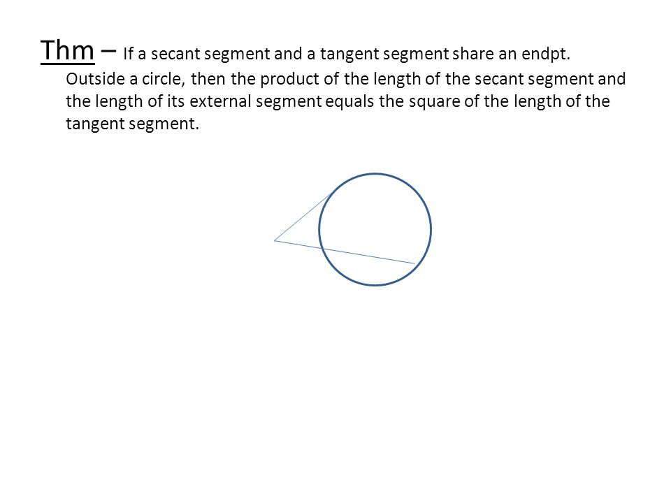 Thm – If a secant segment and a tangent segment share an endpt