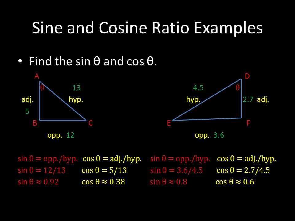Sine and Cosine Ratio Examples