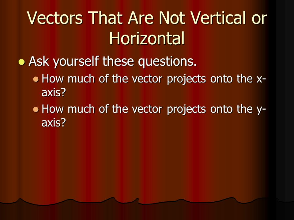 Vectors That Are Not Vertical or Horizontal