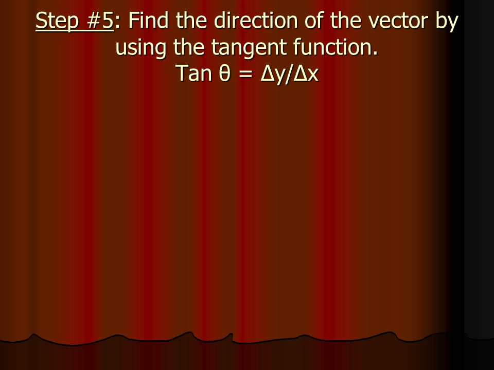 Step #5: Find the direction of the vector by using the tangent function. Tan θ = Δy/Δx