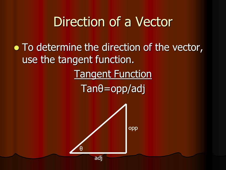 Direction of a Vector To determine the direction of the vector, use the tangent function. Tangent Function.