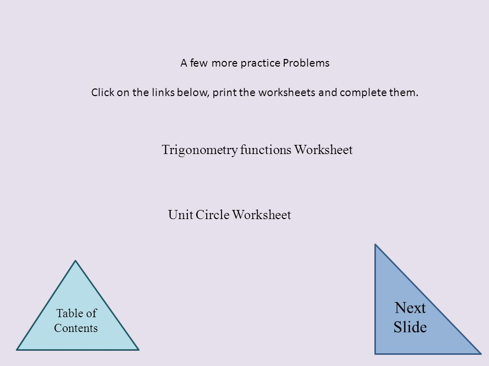 Next Slide Trigonometry functions Worksheet Unit Circle Worksheet