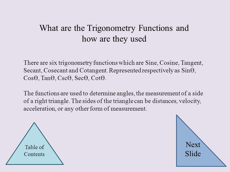 What are the Trigonometry Functions and how are they used