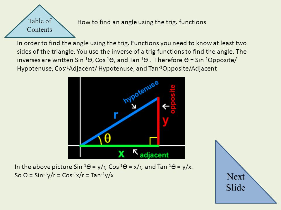 How to find an angle using the trig. functions