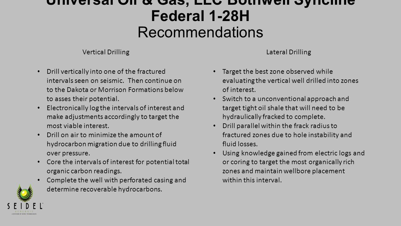 Shale/Gas Increases Universal Oil & Gas, LLC Bothwell Syncline Federal 1-28H Recommendations. Surface Location.